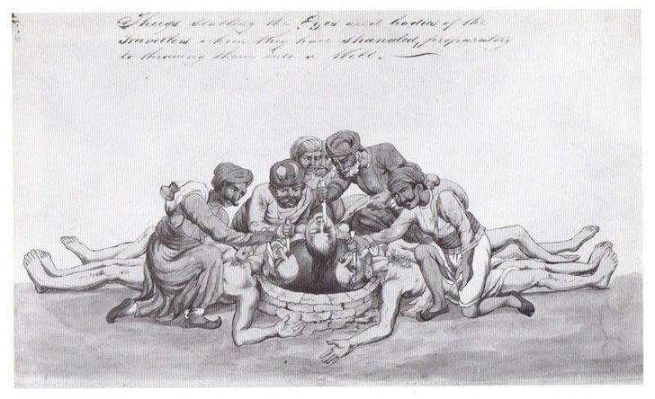 Thugs cegando y mutilando a un viajero