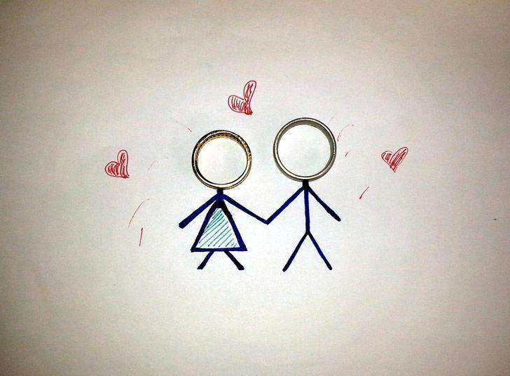 anillos ilustracion pareja boda