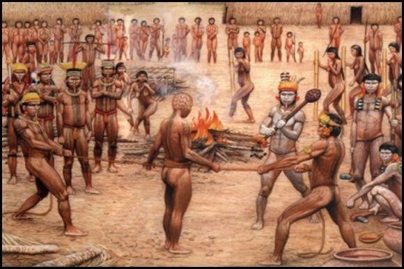 Ilustración del canibalismo ritual de los Tupi