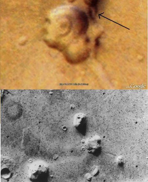 Rostros sobre la superficie marciana.