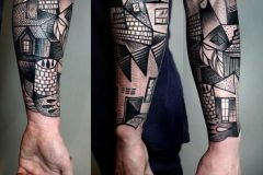 Cubismo sobre la piel en tatuajes de Peter Aurisch