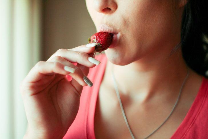 retrato labios fresa