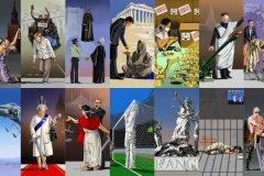 Ilustraciones satíricas sobre líderes mundiales y su visión de justicia