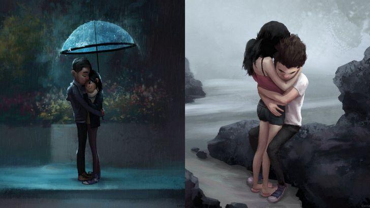 ilustraciones amor pareja