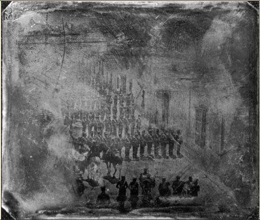 soldados Estadounidenses en Saltillo tras la Batalla de la Angostura
