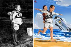 Fotografías trágicas transformadas en ilustraciones llenas de esperanza
