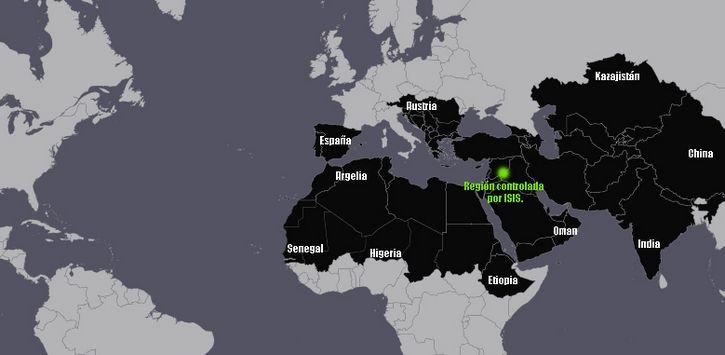 mapa domino estado islamico