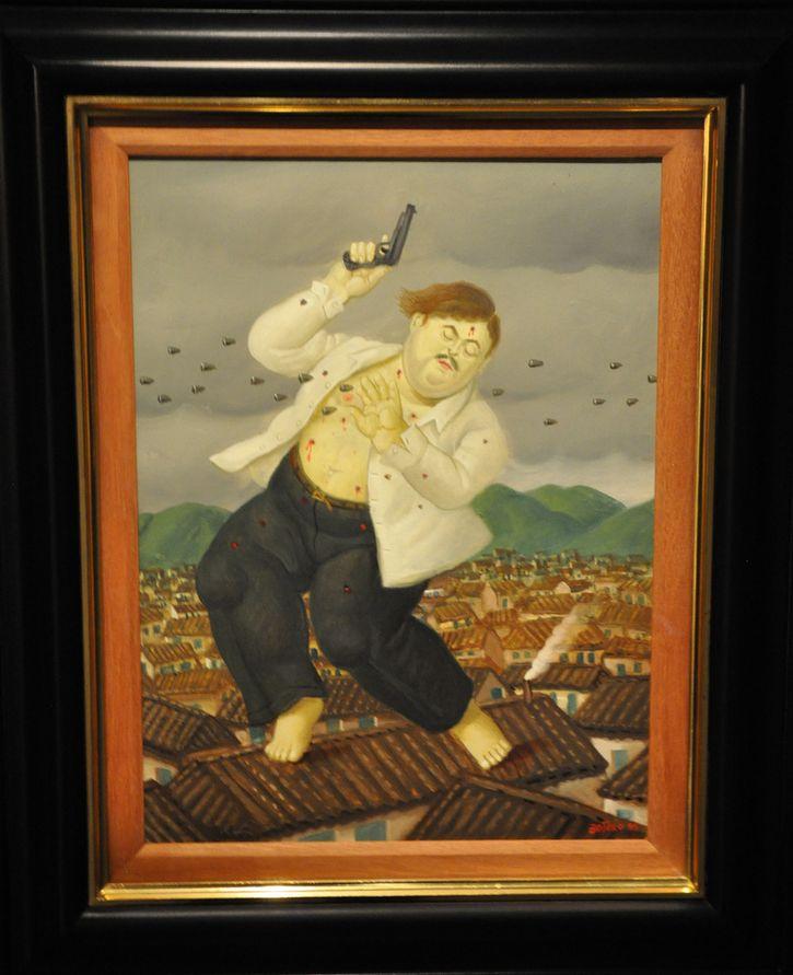 La muerte de Pablo Escobar pintura Botero