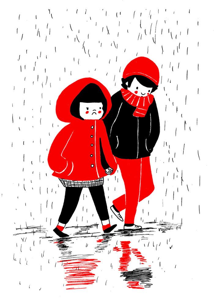 caminata lluvia