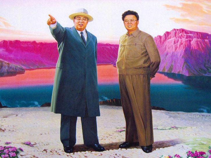 lideres corea norte pintura