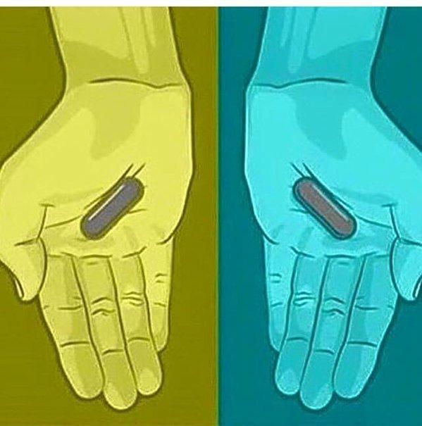 pildoras grises azul roja