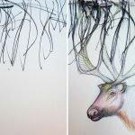 Hija dibuja garabatos y madre los transforma en piezas artísticas