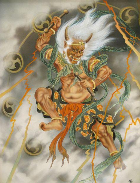 Raijin-pintura dios del trueno
