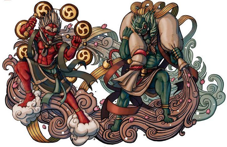 dioses demonios_fujin_raijin_by_elbrazo