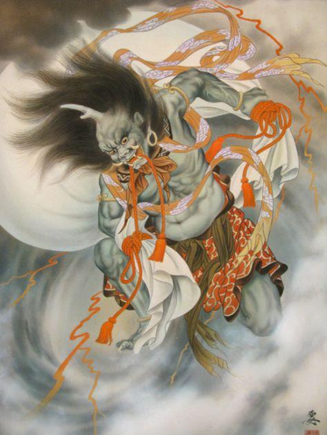 fujin pintura dios del viento japones