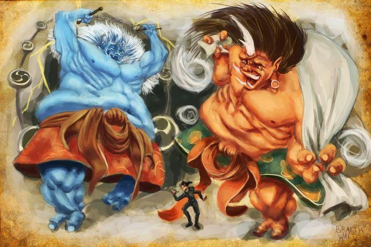 fujin y raijin mitologia japonesa