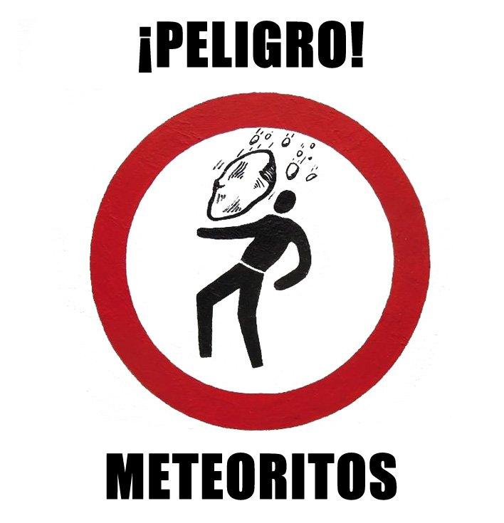 cartel peligro meteoritos