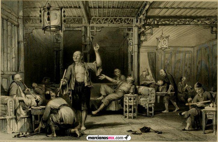 chinos consumiendo opio