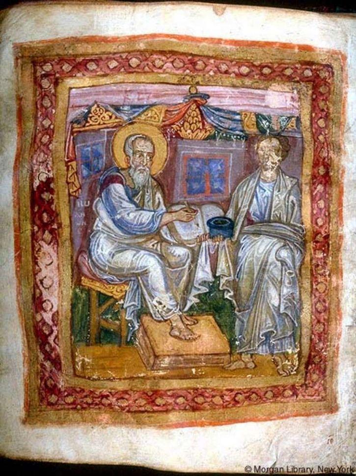 El apóstol Juan (izquierda) y Marción.