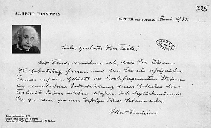 carta de einstein a tesla