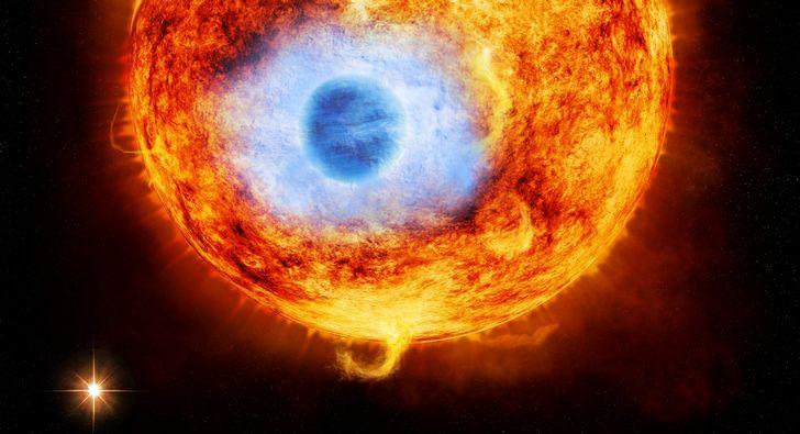 sol y planeta azul erupcion solar