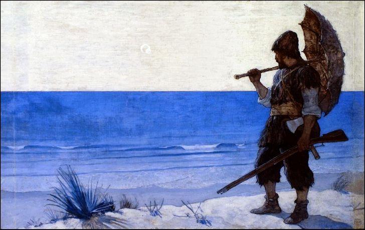 Alexander Selkirk Robinson-Crusoe pintura