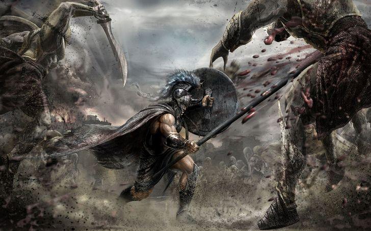 aquiles espada campo batalla