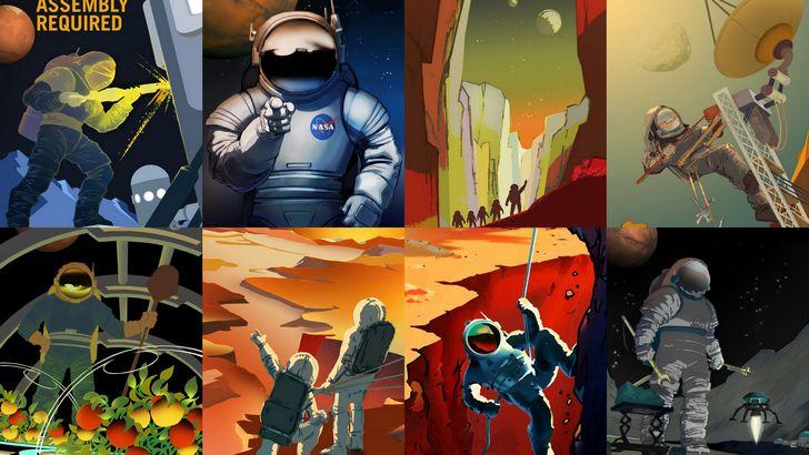 carteles nasa recluta astronautas mision marte