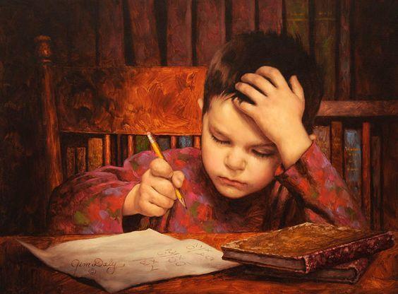 niño aplicado haciendo tarea