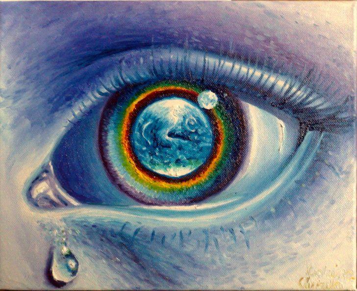el mundo en un ojo pintura al oleo