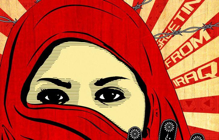 mujer con hiyab rostro ilustracion