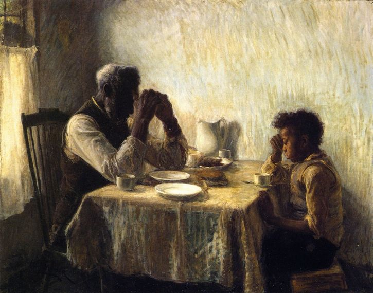 pintura padre e hijo sentados mesa