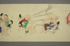 Pergamino japonés del siglo XIX representa una guerra de flatulencias