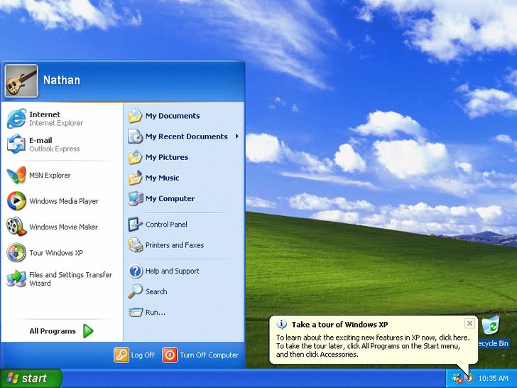 Windows XP interfaz grafica