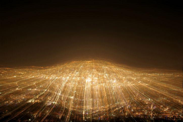 ciudad con luces exposicion
