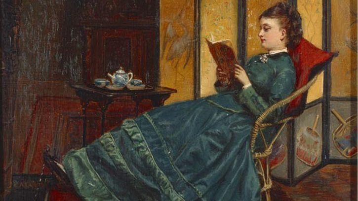mujer leyendo pintura
