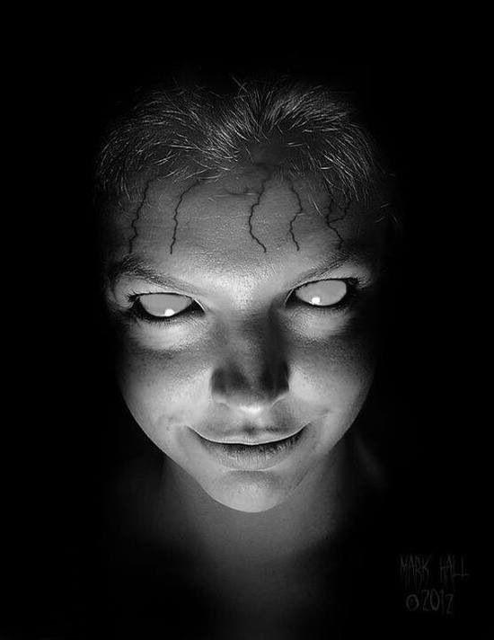rostro macabro ojos blancos