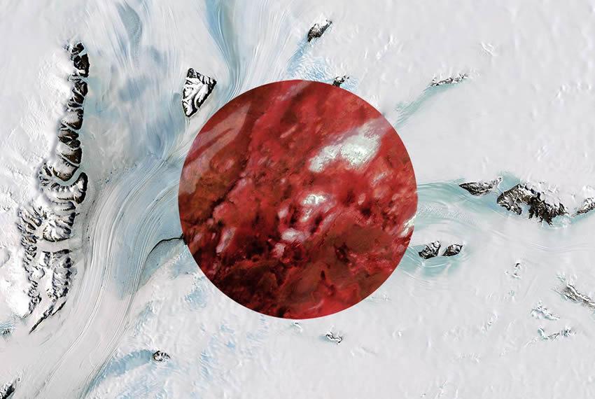 Bandera de Japón con fotografías satelitales de la Antártida y Australia.