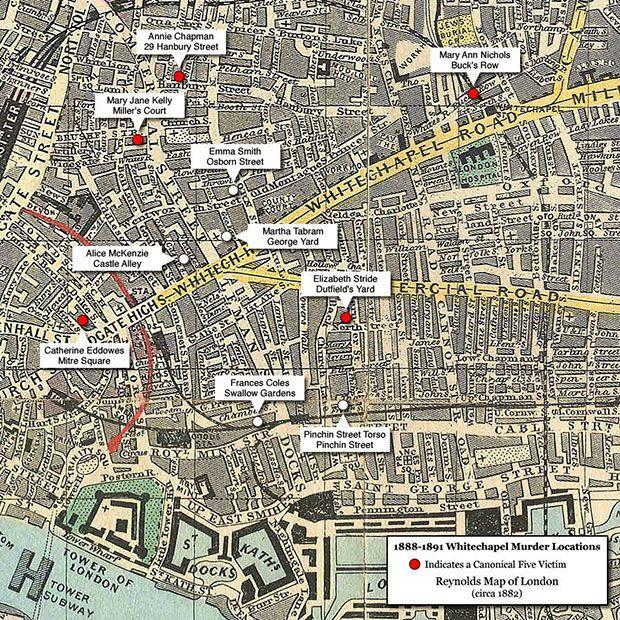 Mapa de los asesinatos de Jack el Destripador.