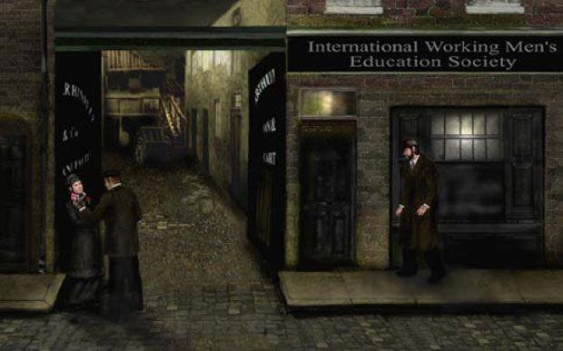 Recreación de la escena desde el punto de vista del testigo Schwartz. Imagen Jane Coram / Casebook: Jack the Ripper.