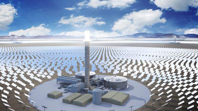 Concepto de una torre de concentración con sistema de generación de energía por sales fundidas.