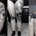 Tatuajes surrealistas con animales híbridos y formas geométricas
