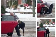 Video hilarante: mujer intenta subir al auto en una calzada congelada