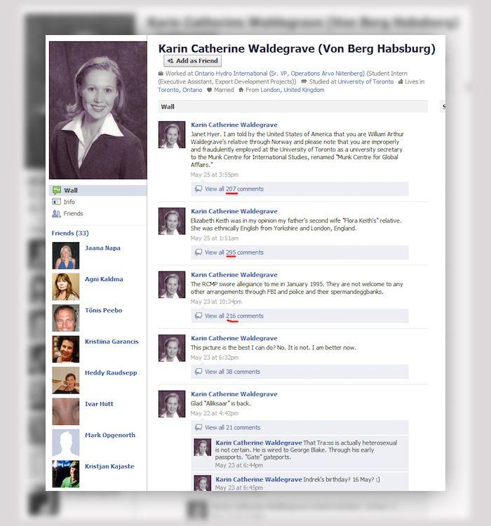 Karin Catherine Waldegrave en facebook perfil