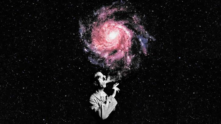 hombre fumando universo humo