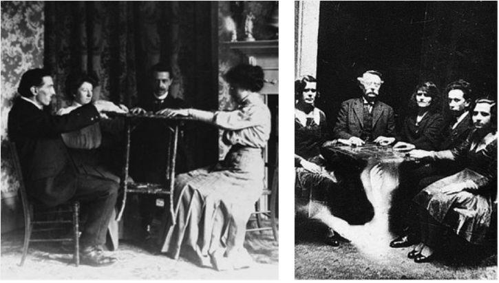 sesion de espiritismo y levitación ouija.