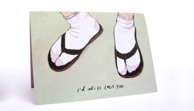 tarjetas san valentin divertidas sandalias y calcetas