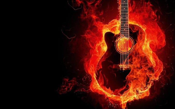 guitarra incendiandose