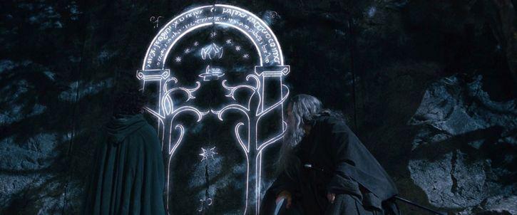 gandalf en la entrada de moria