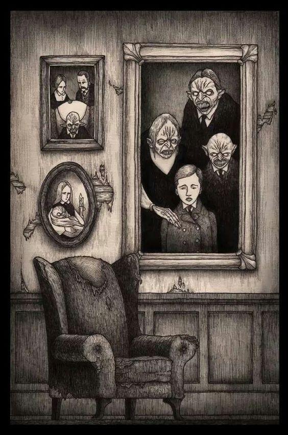 retratos familia mosntruos